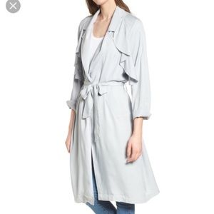 Leith Blue Pearl Ruffle Trim Long Trench Coat Med